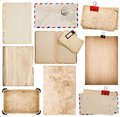 Set of old paper sheets, book, envelope, photo frame with corner Royalty Free Stock Photo