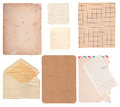 Set of old paper sheets envelope card isolated on white background Royalty Free Stock Photos