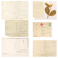 Set of old paper sheets envelope and card isolated on white background Royalty Free Stock Photography