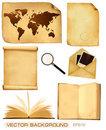Set of old paper sheets and old map. Royalty Free Stock Photo