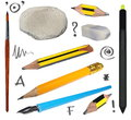 Set old pencil, erasers, brush, ink pen, black wireless stylus pen Royalty Free Stock Photo