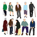 Set of Old People Royalty Free Stock Images