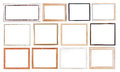 Set of old picture frames simple with cutout canvas isolated on white background Stock Image
