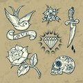 Set of old school tattoo elements with roses and diamonds Stock Photography