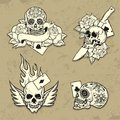 Set of old school tattoo elements with skulls Royalty Free Stock Photography
