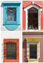 Set of old windows in Mexico Stock Photos
