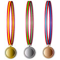 Set of olympic medals isolated on a white background Stock Images