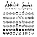 Set of one-eyed smileys in hand drawn style Royalty Free Stock Photo