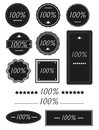 Set of one hundred percent badges label isolated on white Royalty Free Stock Photo