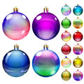 Set of opaque colored christmas balls different colors Stock Photos