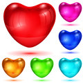 Set of opaque glossy hearts in various colors Stock Photos