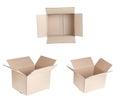 Set of open cardboxex. Royalty Free Stock Photo