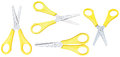 Set of open school scissors with yellow handles Royalty Free Stock Photo