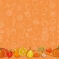 Set of orange fruits and vegetables on orange seamless background Royalty Free Stock Photo