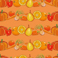 Set of orange fruits and vegetables on orange seamless pattern Royalty Free Stock Photo