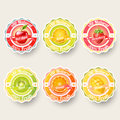 Set of orange, lemon, strawberry, kiwi, apple, mango juice,smoothie, milk, cocktail and fresh labels splash. Royalty Free Stock Photo