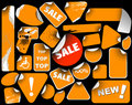 Set of orange sale labels Stock Photography