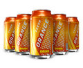 Set of orange soda drinks in metal cans Stock Photography