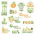 Set of organic food logo color version Royalty Free Stock Photos