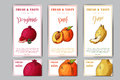 Set of organic fruits cards. Hand drawn sketch elements. Banner collection template. Farm company. Vector illustration