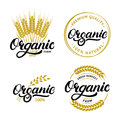 Set of Organic hand written lettering logos, labels, badges or emblems for natural fresh products.
