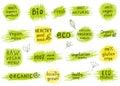 Set of organic, natural, bio, eco, healthy food labels.
