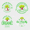 Set Organic Natural Ecology stickers Royalty Free Stock Photo