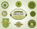 Set of Organic and Natural Food Labels Stock Photos