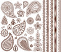 Set of oriental ornaments for henna tattoo and for your design. Royalty Free Stock Photo