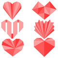 Set of origami paper hearts Stock Photos