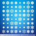 Set of 64 original beautiful snowflakes. Graphic winter object. Christmas snow icon. Snow flake crystal element. EPS 10