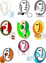 Set of original symbolic faces Stock Photography