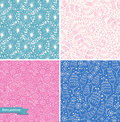 Title: Set of ornamental cute seamless floral patterns. Decorative beauty backgrounds