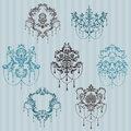Set of ornamental DAMASK illustrations Stock Photography