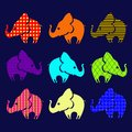 Set of ornamental elephants vector illustration Stock Photo