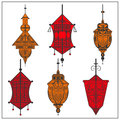 Set of ornamental ethnic lanterns in two colors Royalty Free Stock Photo