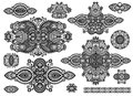 Set of ornamental floral adornment black and white collection vector illustration Stock Photo