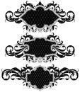 Set of ornamental frames three shields decorated floral elements this illustration may be useful as designer work Royalty Free Stock Photography