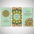 Set of ornamental hand drawn mandala cards, business, visiting t