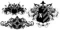 Set of ornamental heraldic shields three decorated floral elements this illustration may be useful as designer work Stock Photos