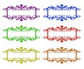 Set of ornamental labels four colorful on white Royalty Free Stock Images