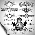 Set of ornamental labels shields and other heraldic elements this illustration may be useful as designer work Royalty Free Stock Photography