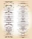 Set ornamental rule lines in different design.Vintage . Royalty Free Stock Photo