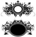 Set of ornamental shields two decorated floral elements this illustration may be useful as designer work Royalty Free Stock Photo