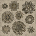 Set of ornamental vintage floral elements for design Stock Photos