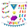 Set of ornaments with rectangular flags, illustration of children`s holiday colorful sets of flags to decorate cards or