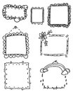 Set of ornate black picture frames isolated on white