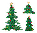 Set of ornate christmas trees with stars Stock Photo