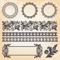 Set of ornate page decor elements Stock Images