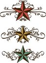 Set of Ornate Western Stars Royalty Free Stock Photography
